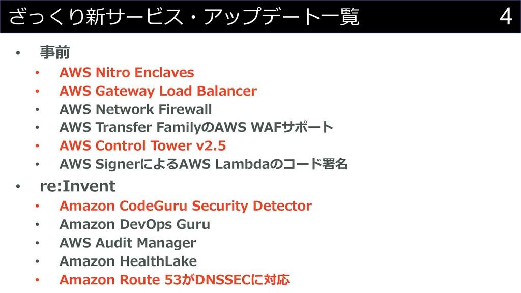 4 ざっくり新サービス・アップデート⼀覧 • 事前 • AWS Nitro Enclaves ...