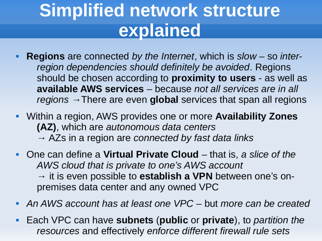 Simplified network structure explained  Region...