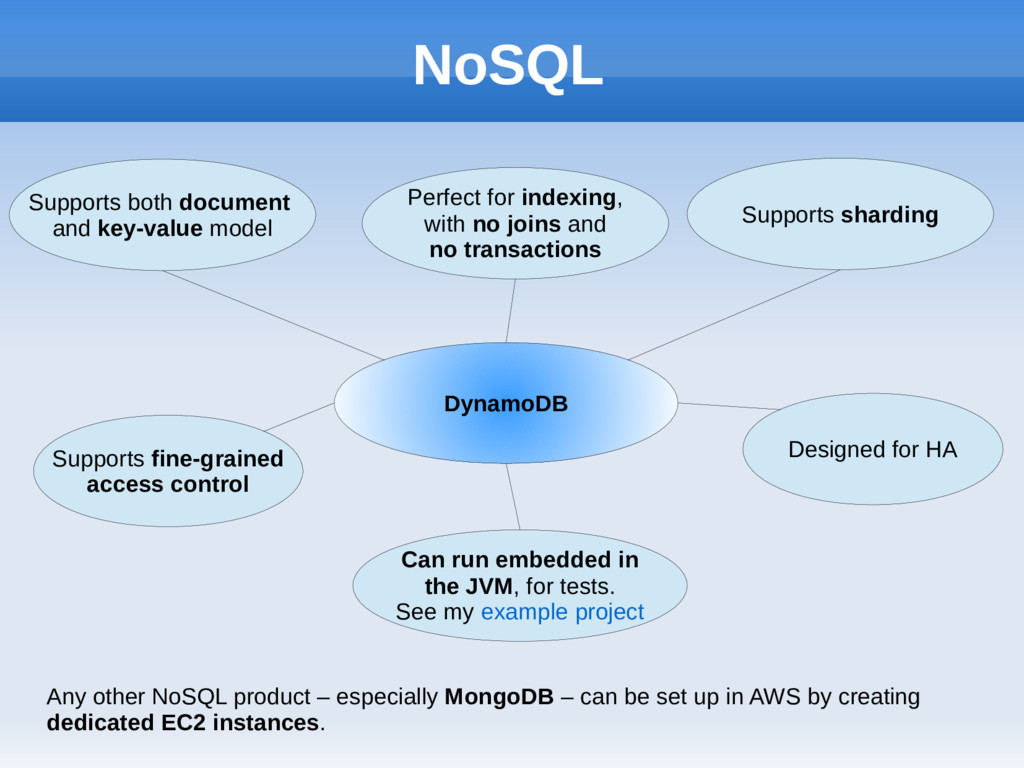 NoSQL DynamoDB Supports both document and key-v...