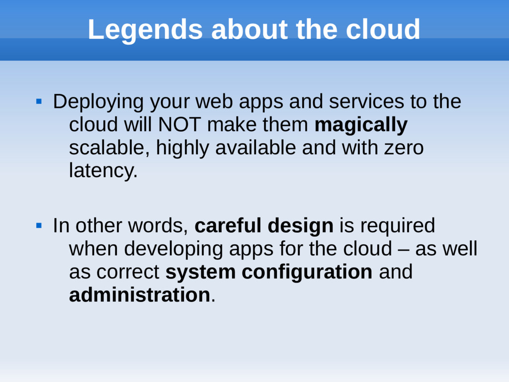 Legends about the cloud  Deploying your web ap...