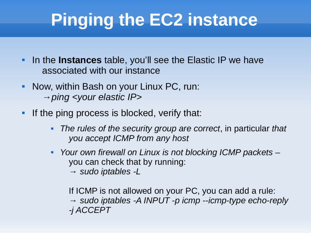 Pinging the EC2 instance  In the Instances tab...