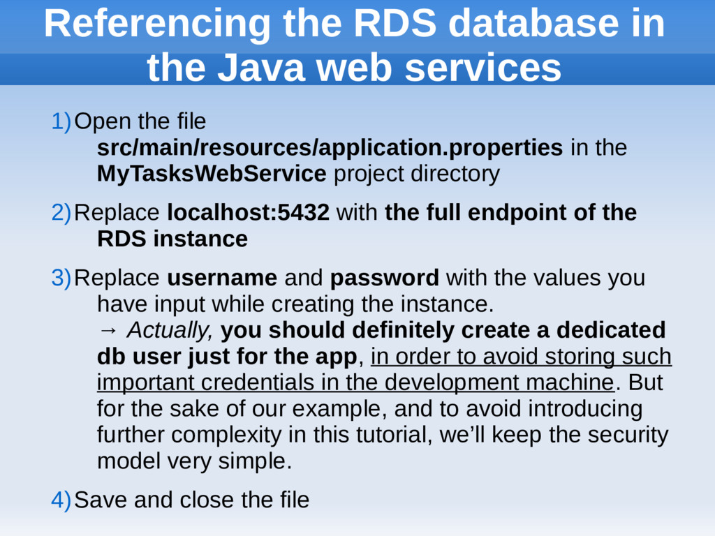 Referencing the RDS database in the Java web se...