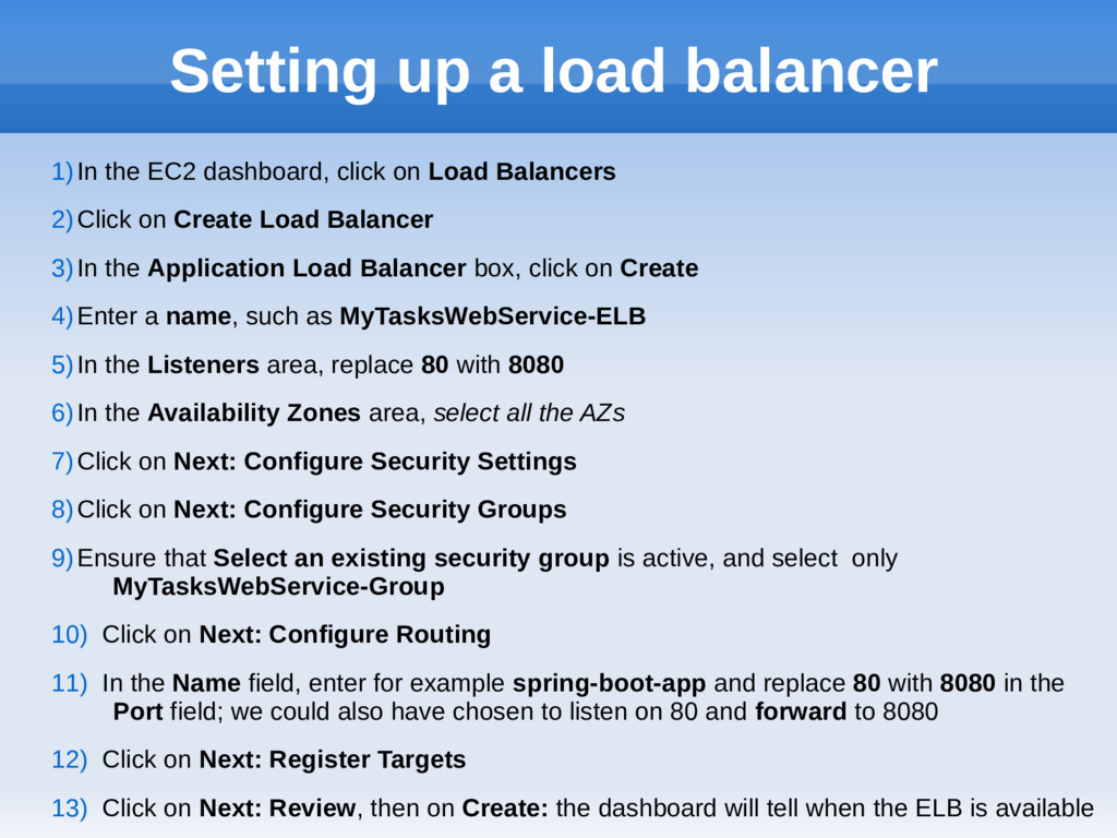 Setting up a load balancer 1)In the EC2 dashboa...