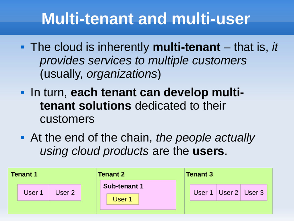 Multi-tenant and multi-user  The cloud is inhe...