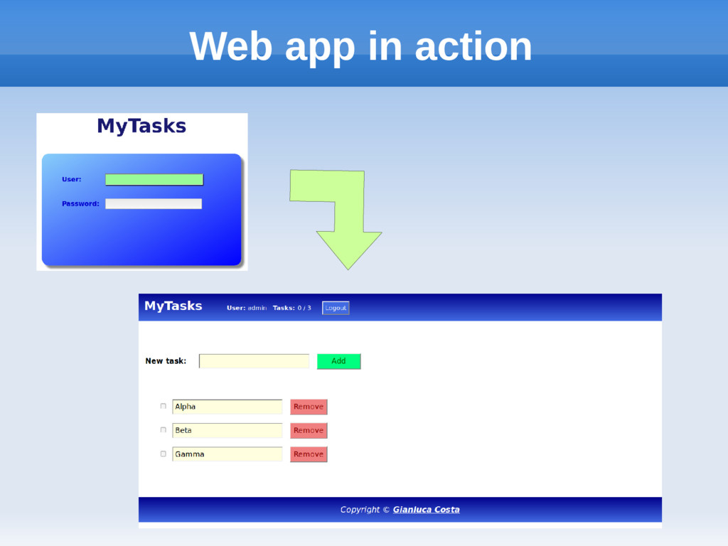 Web app in action
