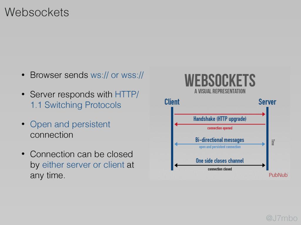 • Browser sends ws:// or wss:// • Server respon...
