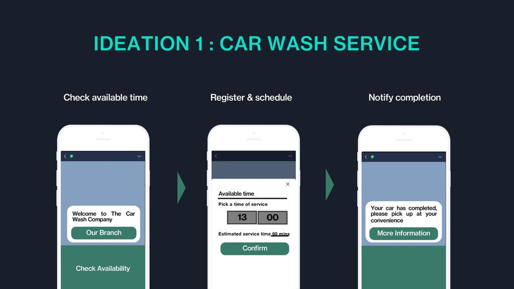 IDEATION 1 : CAR WASH SERVICE Register & schedu...