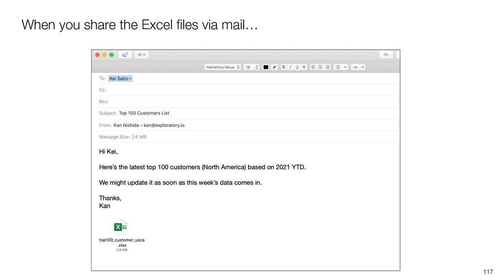When you share the Excel files via mail… 117