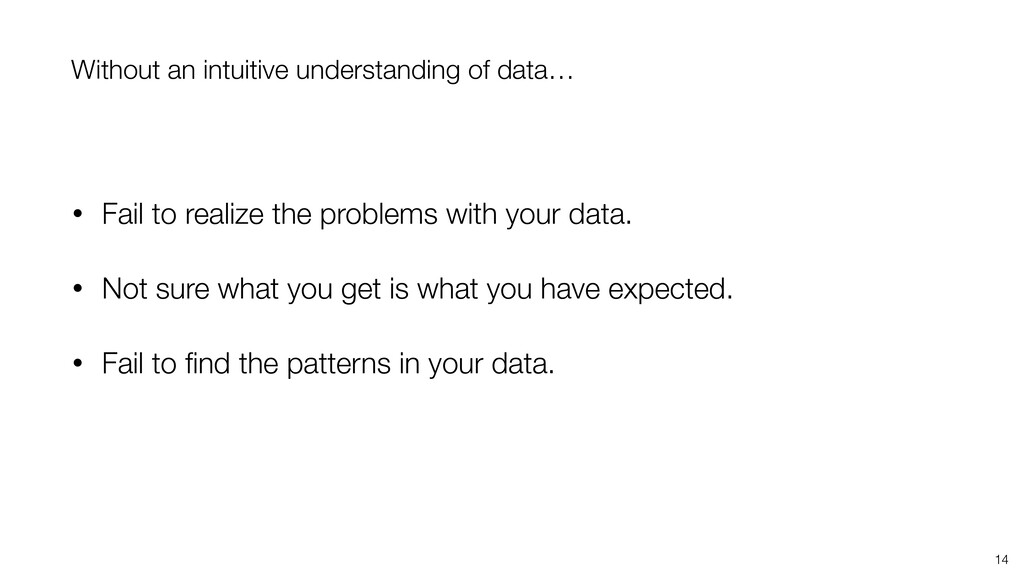 14 Without an intuitive understanding of data… ...