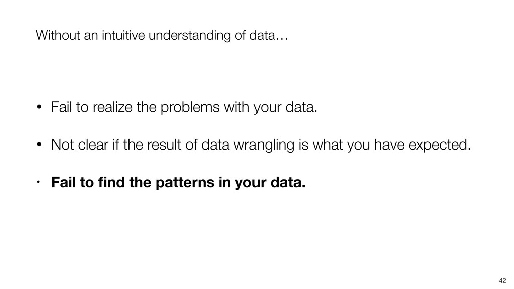 42 Without an intuitive understanding of data… ...