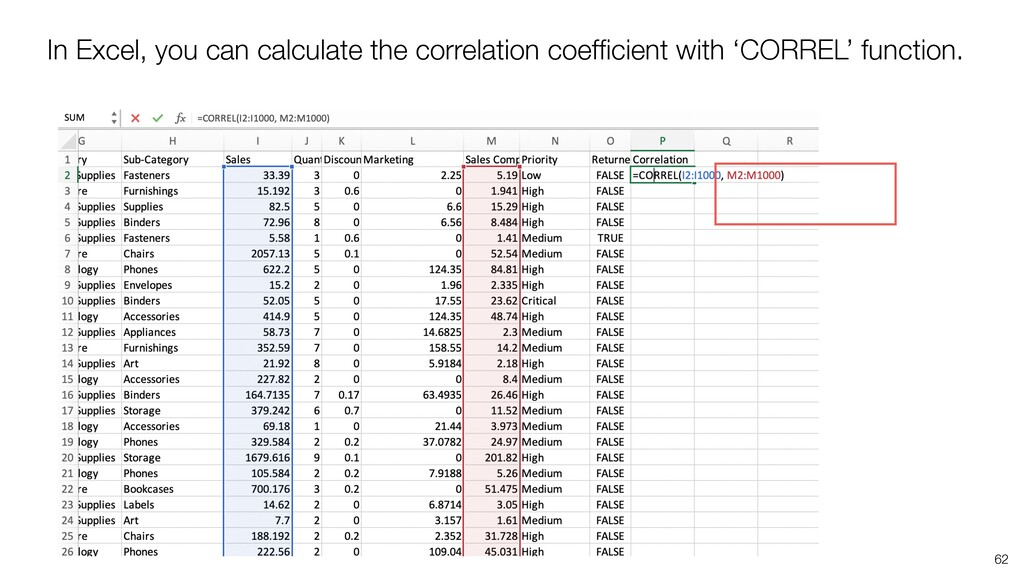 In Excel, you can calculate the correlation coe...