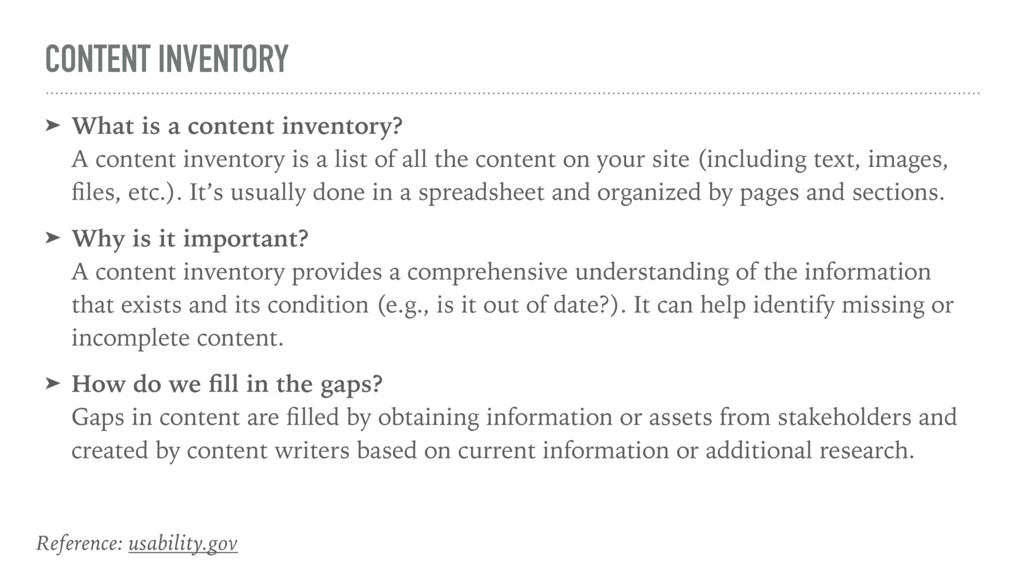 CONTENT INVENTORY ➤ What is a content inventory...