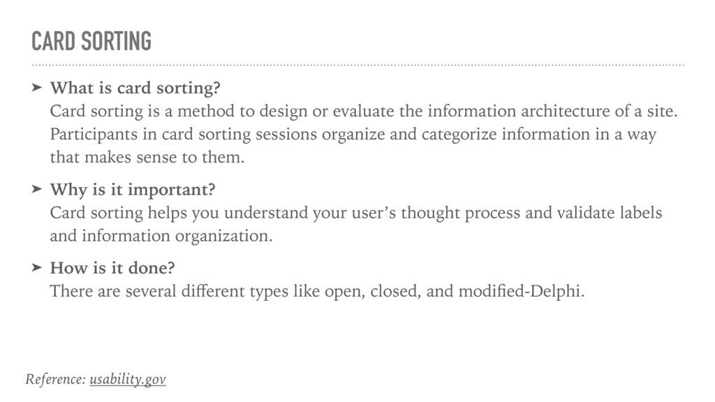 CARD SORTING ➤ What is card sorting? Card sort...