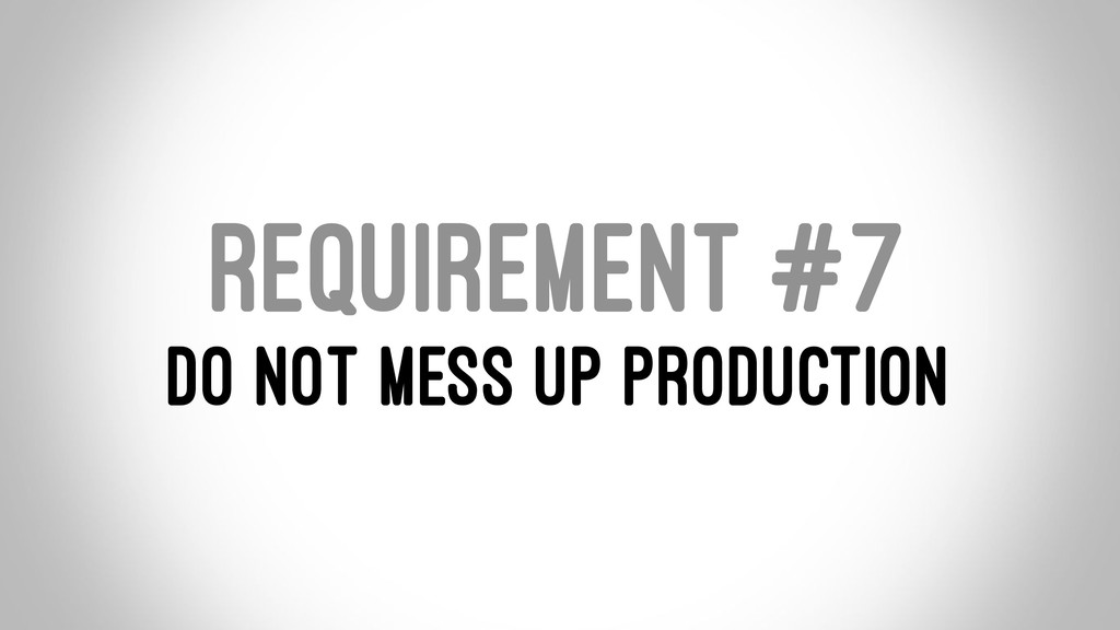 REQUIREMENT #7 DO NOT MESS UP PRODUCTION