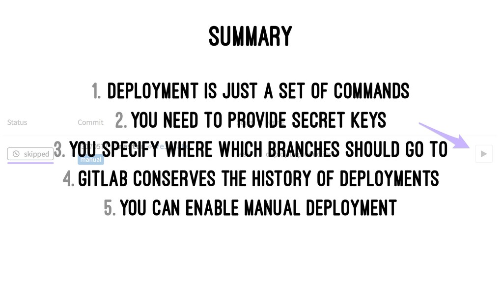 SUMMARY 1. Deployment is just a set of commands...