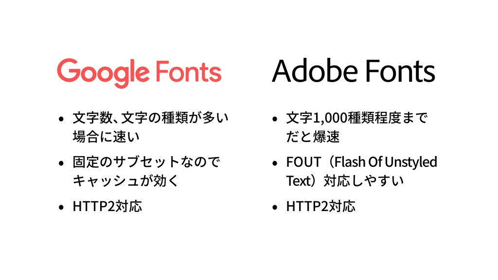 Adobe Fonts • ⽂字数、 ⽂字の種類が多い 場合に速い • 固定のサブセットなので...