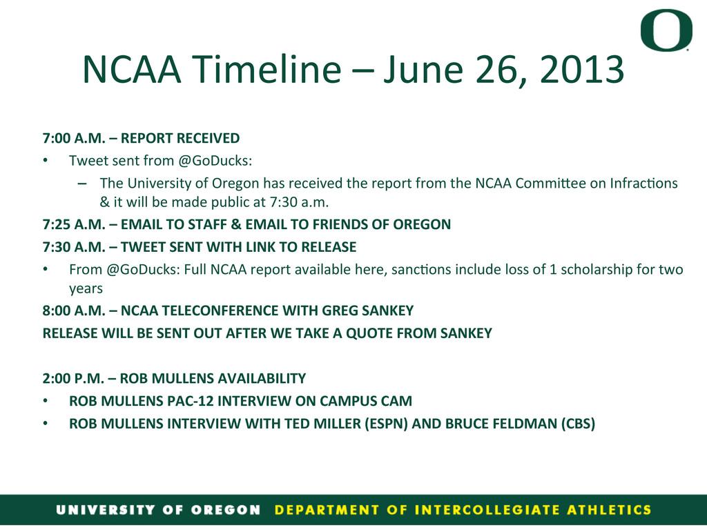NCAA Timeline – June 26, 2013 ...