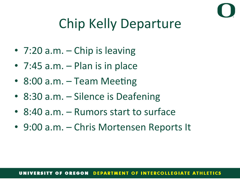 Chip Kelly Departure  • 7:20 a.m....