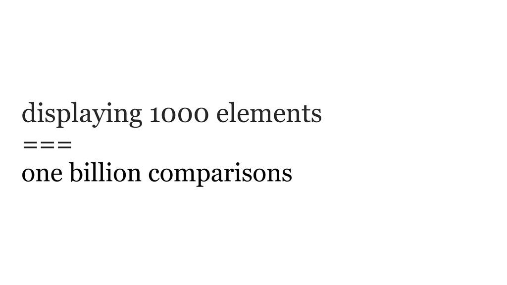 displaying 1000 elements === one billion compar...