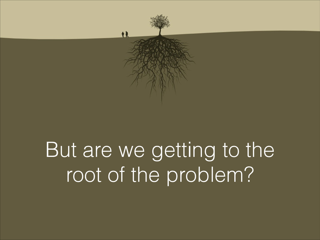 But are we getting to the root of the problem?