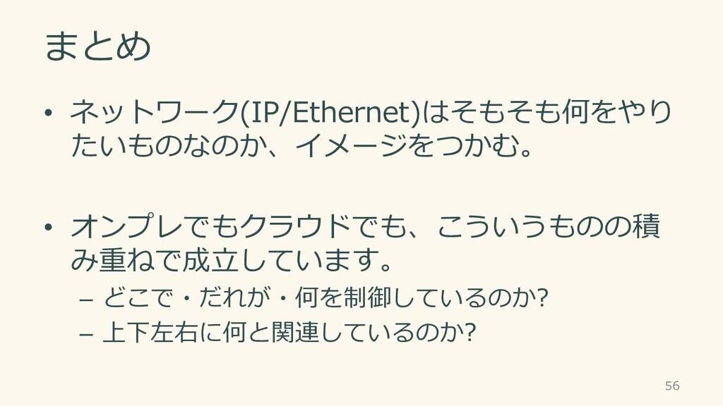 まとめ • ネットワーク(IP/Ethernet)はそもそも何をやり たいものなのか、イメージ...