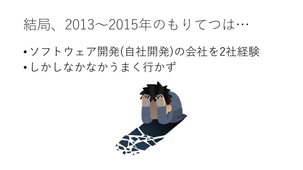 結局、2013〜2015年のもりてつは… •ソフトウェア開発(⾃社開発)の会社を2社経験 •し...