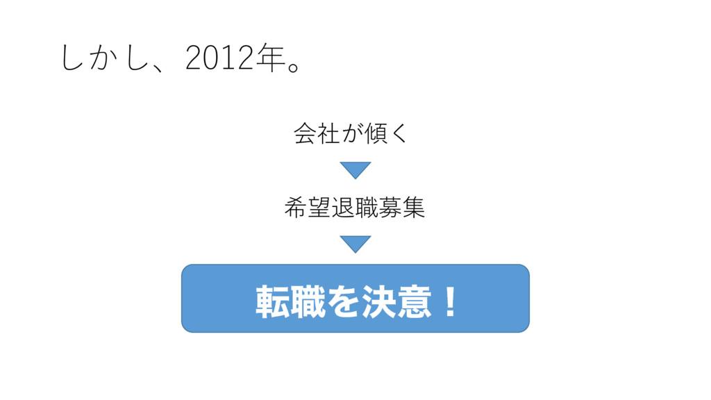 しかし、2012年。 会社が傾く 希望退職募集 స৬Λܾҙʂ