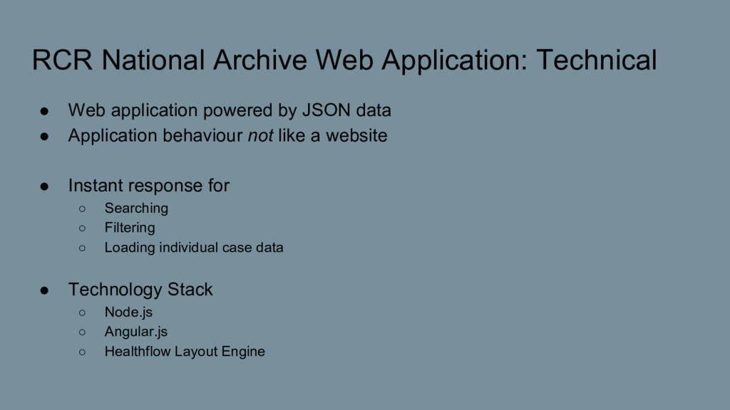 RCR National Archive Web Application: Technical...