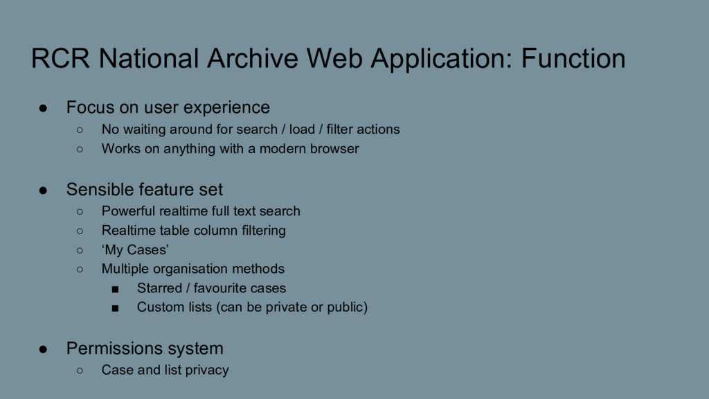 RCR National Archive Web Application: Function ...