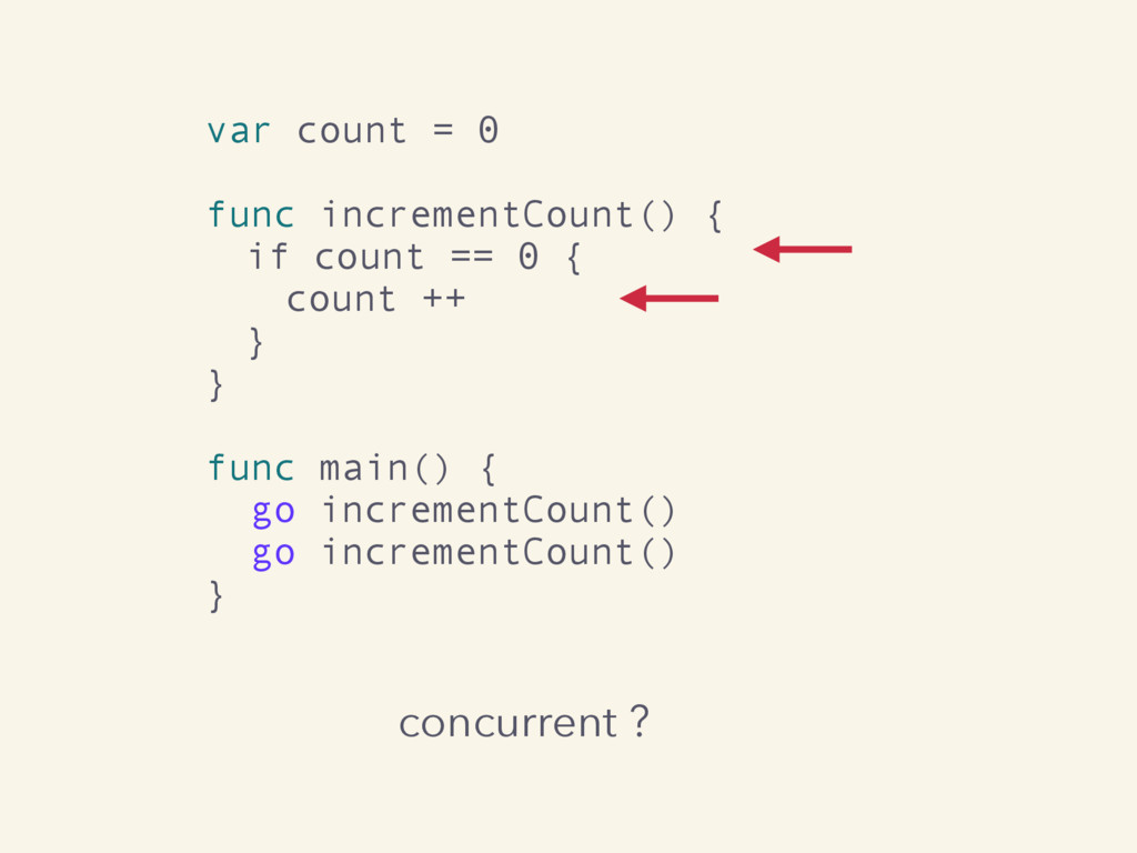 concurrent ? var count = 0 func incrementCount(...