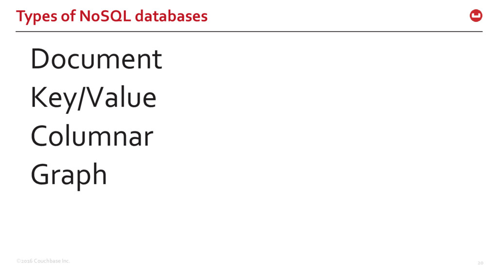©2016 Couchbase Inc. 20 Types of NoSQL database...