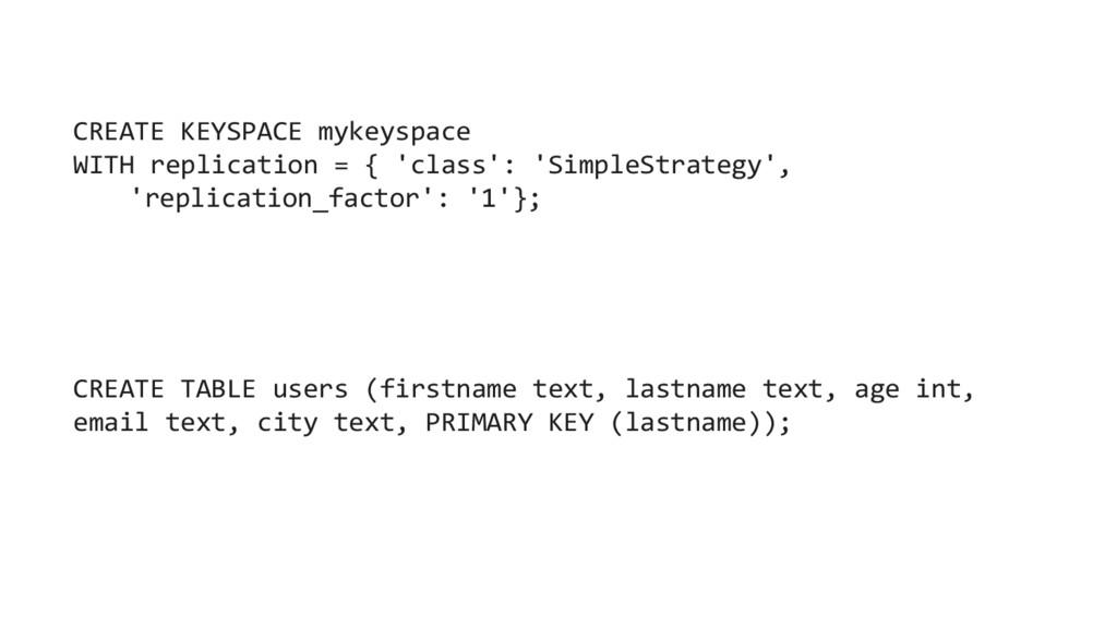 CREATE KEYSPACE mykeyspace WITH replication = {...