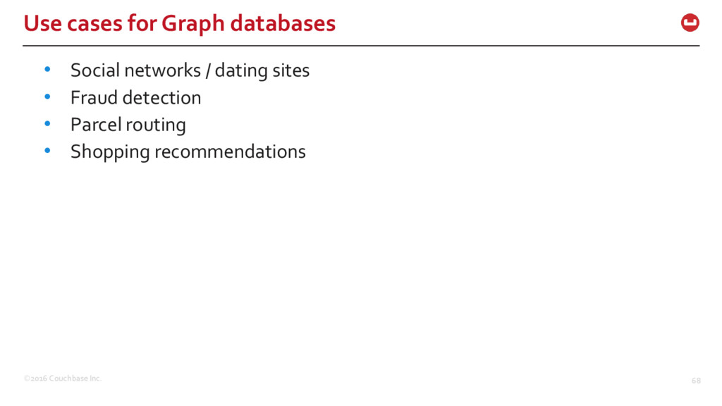 ©2016 Couchbase Inc. 68 Use cases for Graph dat...