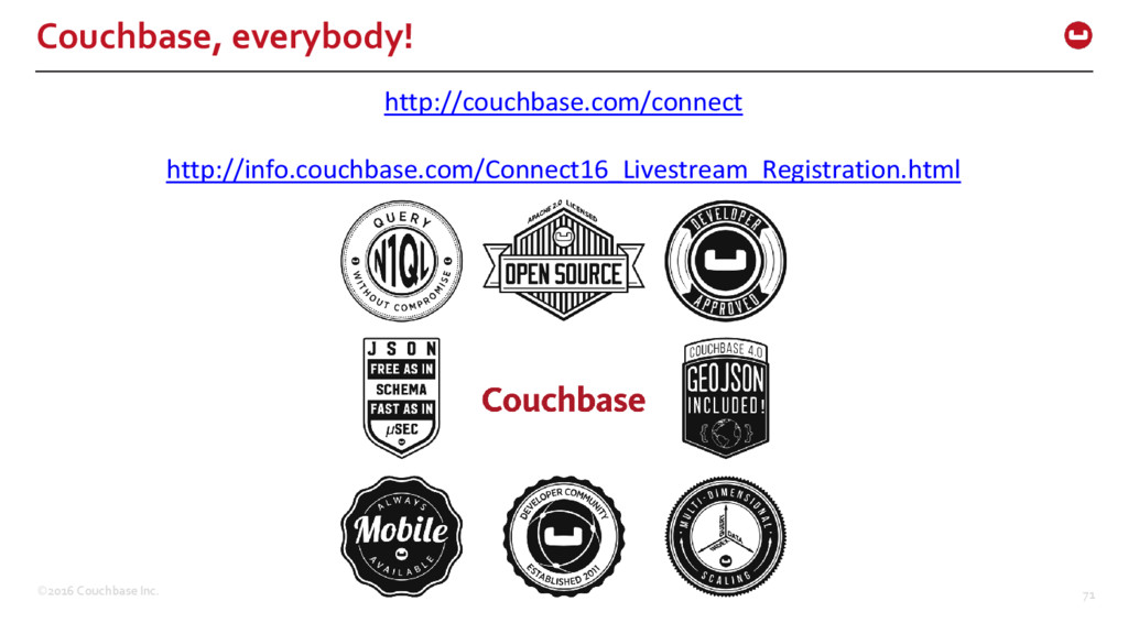 ©2016 Couchbase Inc. 71 Couchbase, everybody! h...