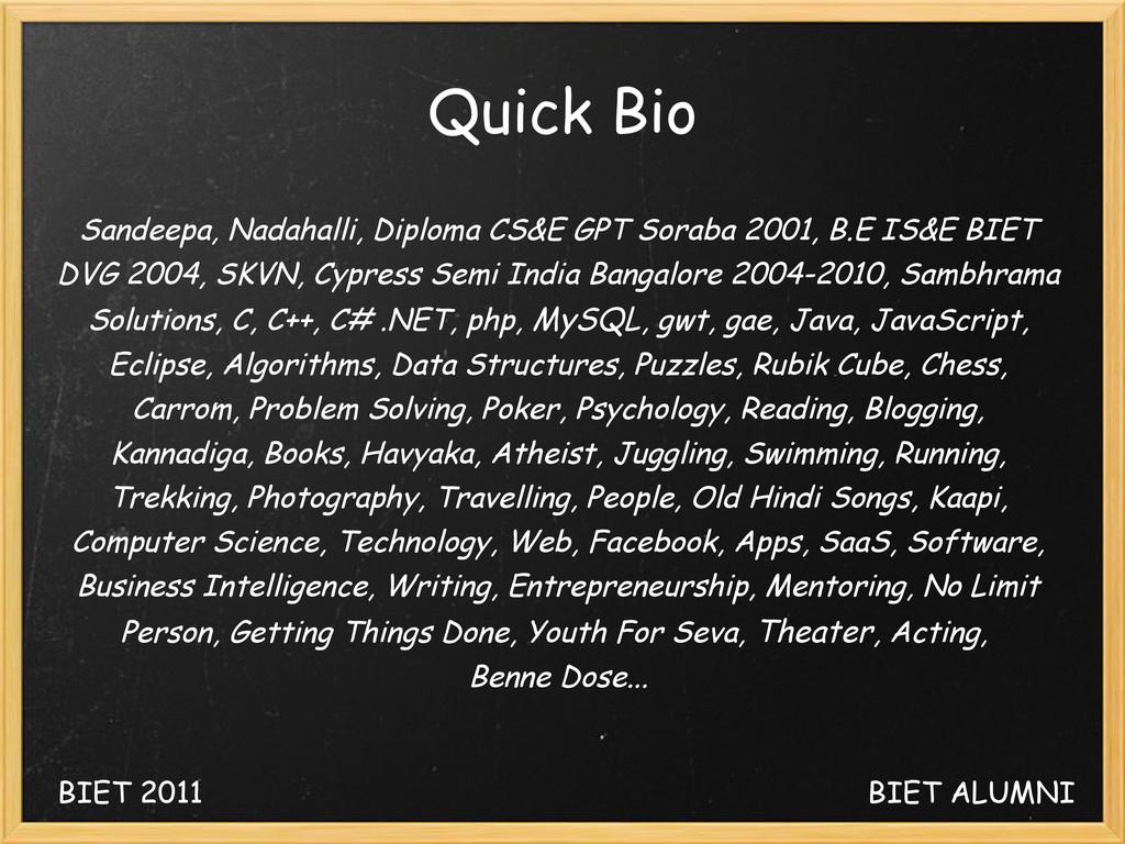 Quick Bio Sandeepa, Nadahalli, Diploma CS&E GPT...