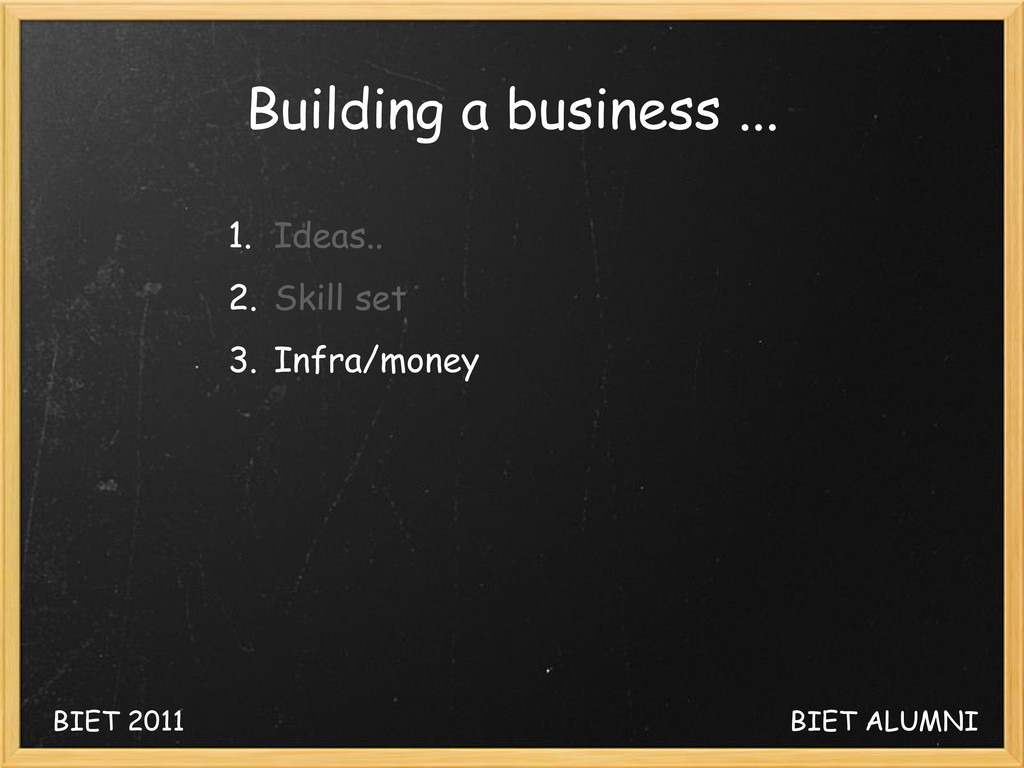 BIET 2011 BIET ALUMNI Building a business ... 1...