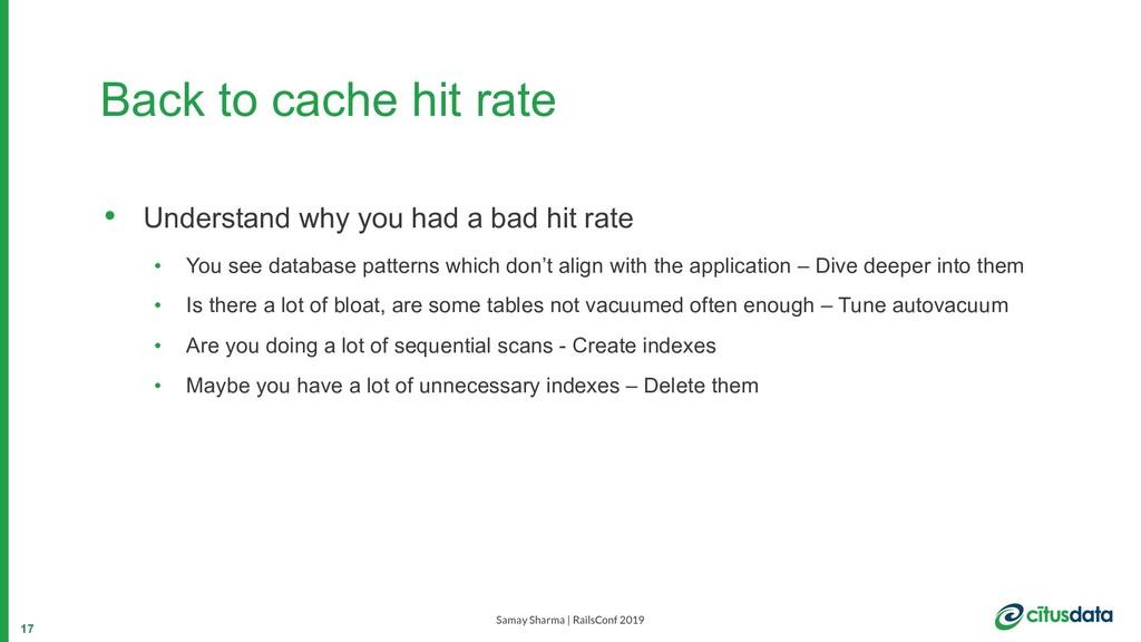 Samay Sharma | RailsConf 2019 Back to cache hit...
