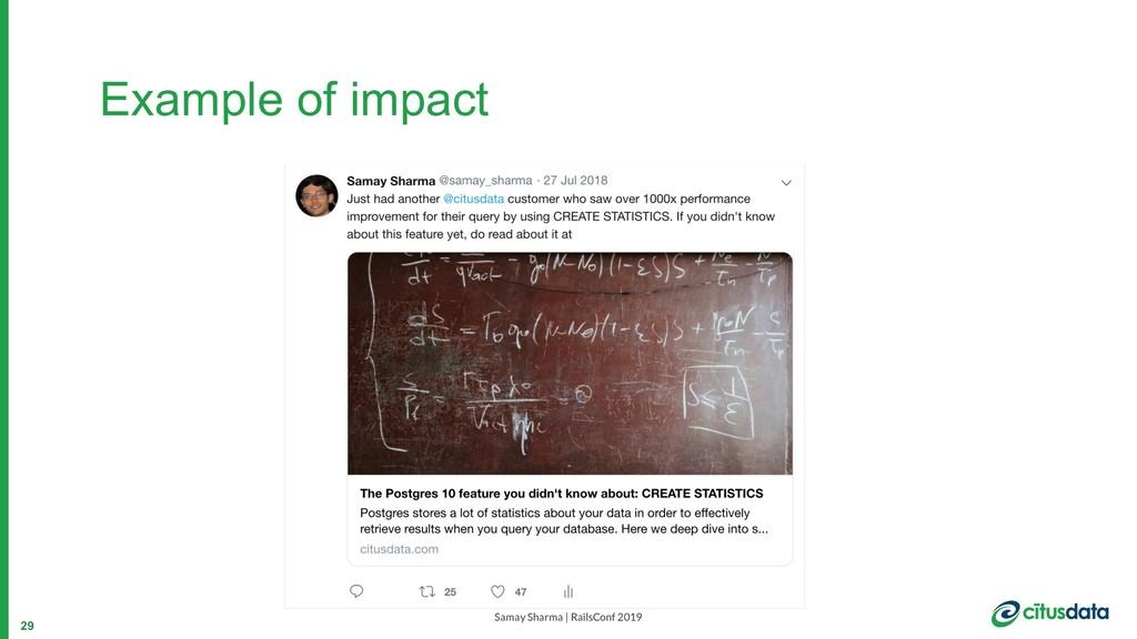 Samay Sharma | RailsConf 2019 Example of impact...