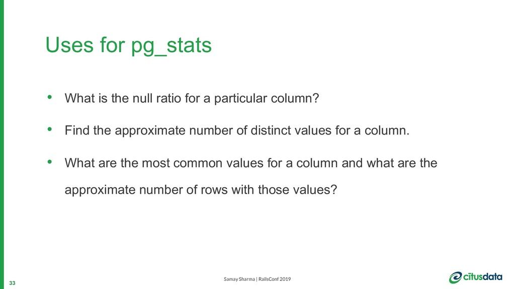 Samay Sharma | RailsConf 2019 Uses for pg_stats...