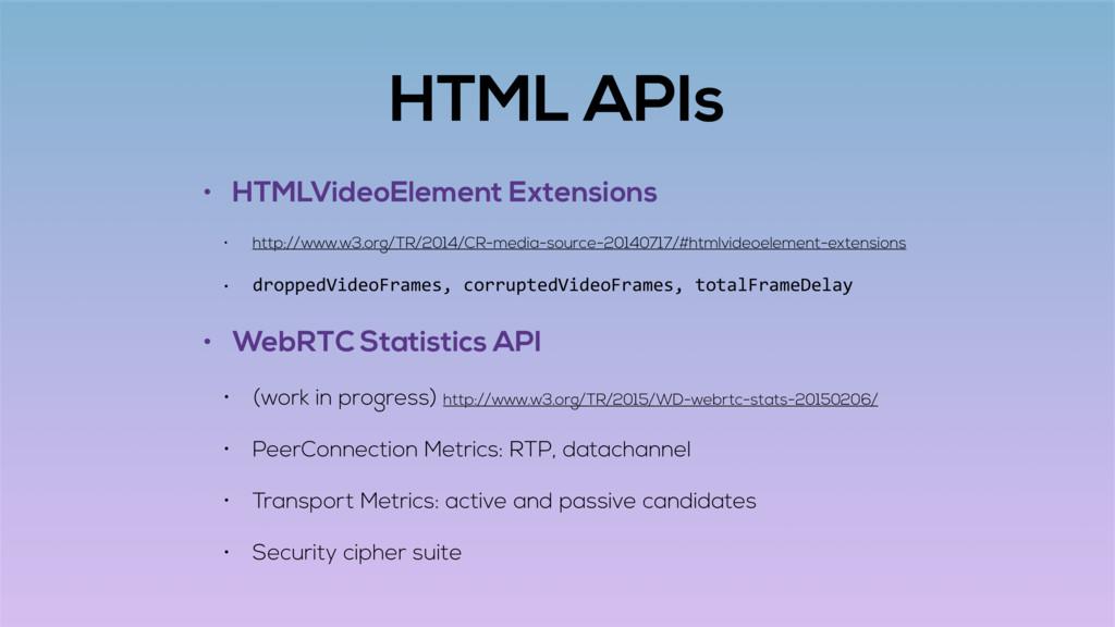 HTML APIs • HTMLVideoElement Extensions • http:...
