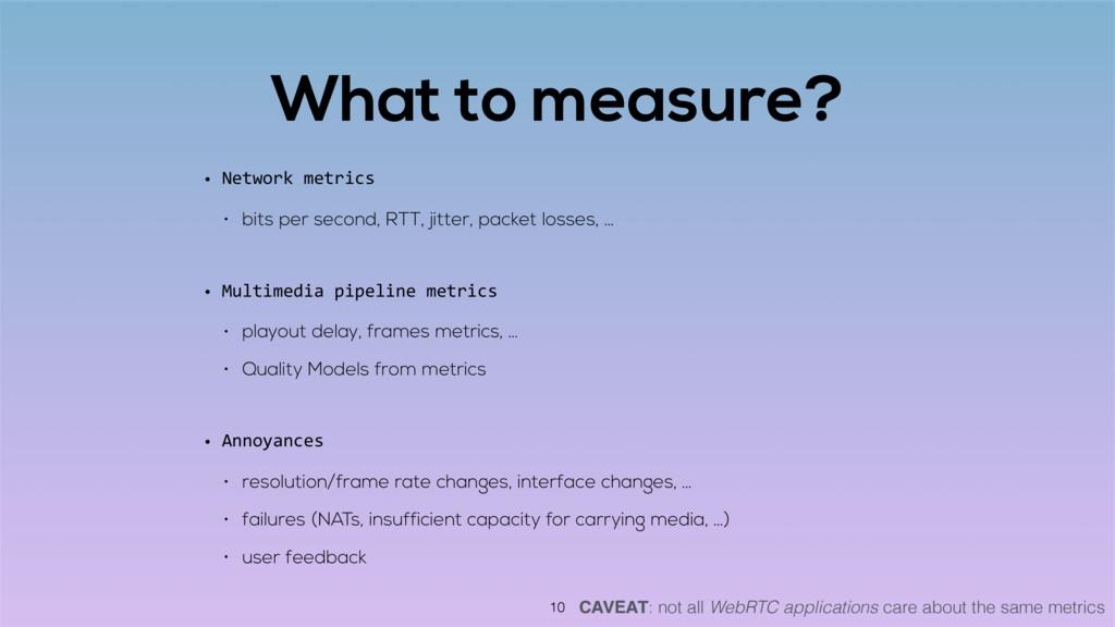 What to measure? • Network metrics • bits per s...