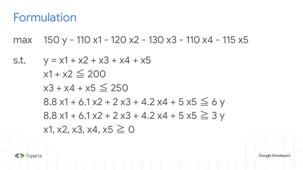Formulation max 150 y - 110 x1 - 120 x2 - 130 x...