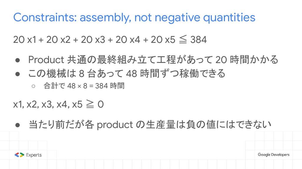 Constraints: assembly, not negative quantities ...