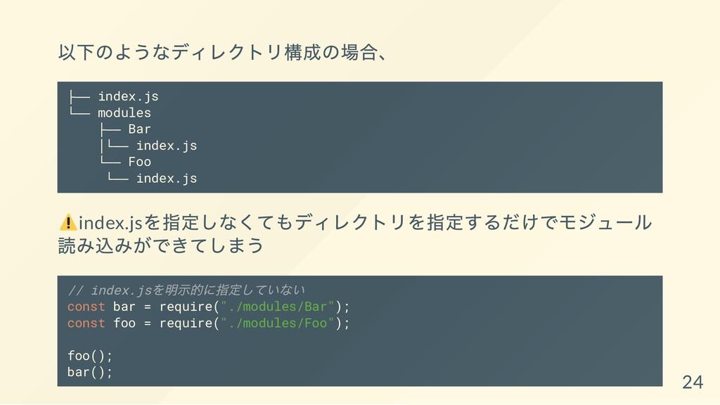 以下のようなディレクトリ構成の場合、 ├── index.js └── modules ├──...
