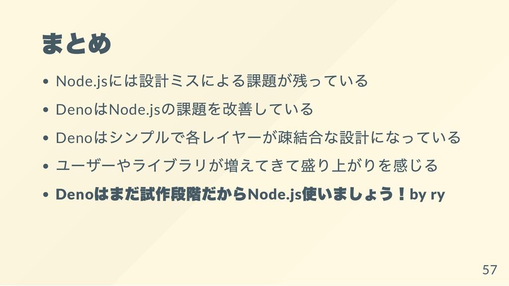 まとめ Node.js には設計ミスによる課題が残っている Deno はNode.js の課題...