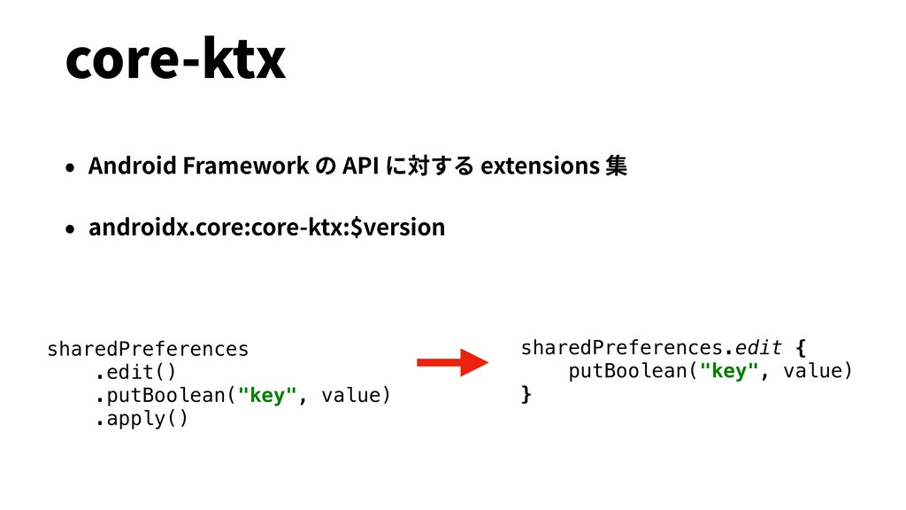 core-ktx • Android Framework の API に対する extensi...