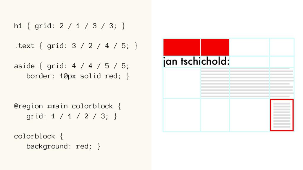 h1 { grid: 2 / 1 / 3 / 3; } .text { grid: 3 / 2...