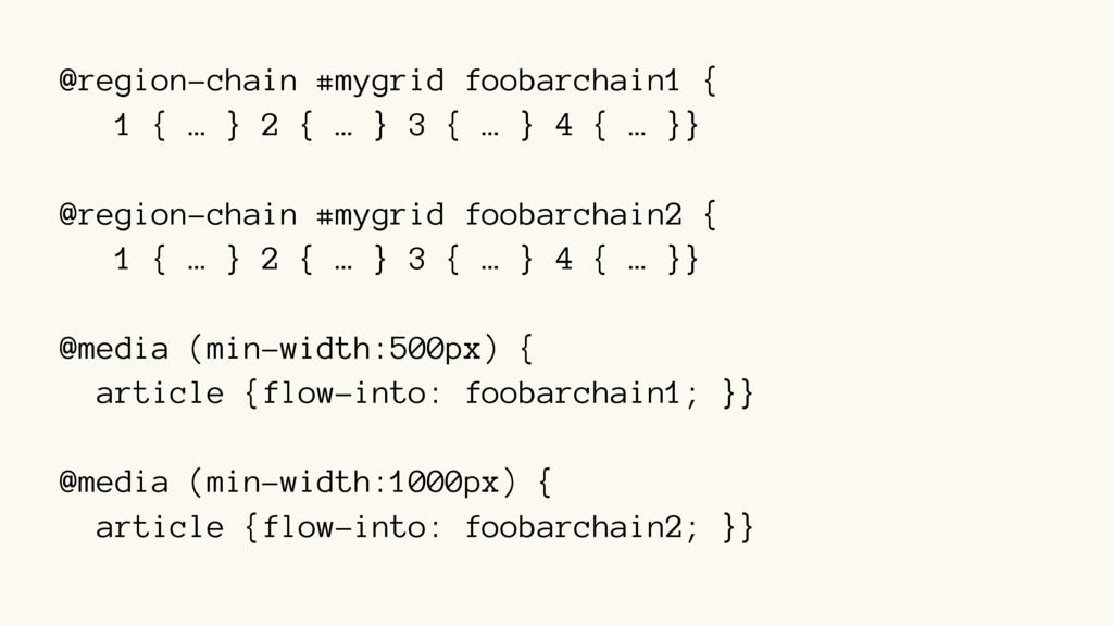 @region-chain #mygrid foobarchain1 { 1 { … } 2 ...