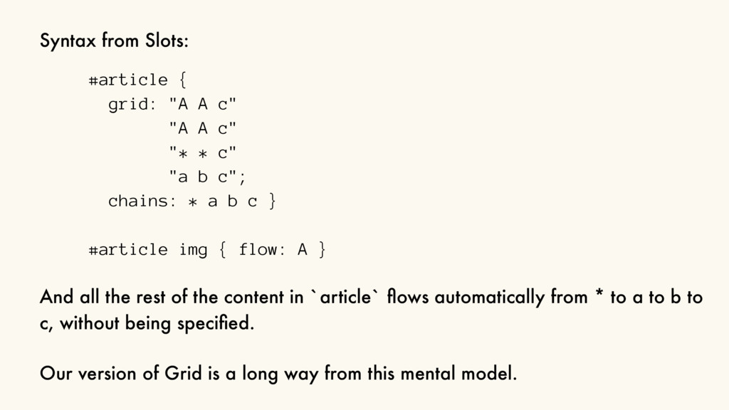 "Syntax from Slots: #article { grid: ""A A c"" ""A ..."