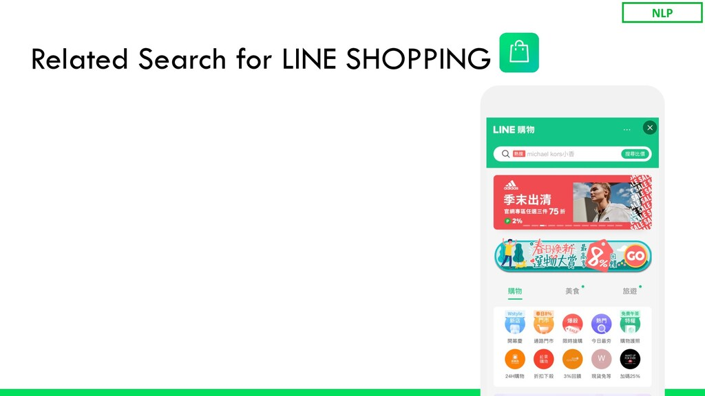 Related Search for LINE SHOPPING NLP